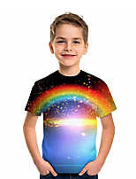 cheap -Kids Boys' T shirt Tee Short Sleeve Graphic 3D Rainbow Print Children Tops Active Rainbow