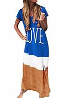 cheap -Women's T Shirt Dress Tee Dress Maxi long Dress Black Blue Red Yellow Green Gray Short Sleeve Pattern Spring & Summer Classic 2021 S M L XL XXL XXXL 4XL 5XL