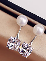 cheap -Women's AAA Cubic Zirconia Stud Earrings Geometrical Precious Fashion Imitation Pearl Silver Plated Earrings Jewelry White For Christmas Party Evening Street Gift Date 1 Pair