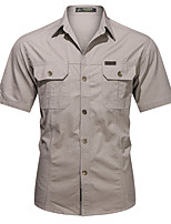 cheap -Men's Hiking Shirt / Button Down Shirts Fishing Shirt Short Sleeve Square Neck Outerwear Shirt Top Outdoor Multi-Pockets Quick Dry Lightweight Breathable Autumn / Fall Spring Summer Cotton Solid Color