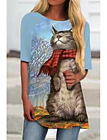 cheap -Women's T Shirt Dress Tee Dress Short Mini Dress White Blue Half Sleeve Cat Animal Print Spring Summer Round Neck Casual 2021 S M L XL XXL 3XL