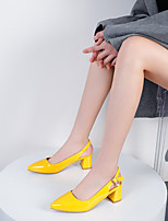 cheap -Women's Sandals Chunky Heel Pointed Toe Patent Leather Buckle Solid Colored White Black Yellow