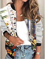 cheap -Women's Animal Patterned Print Active Spring &  Fall Jacket Regular Daily Long Sleeve Air Layer Fabric Coat Tops Rainbow
