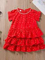 cheap -Toddler Little Girls' Dress Geometric Ruffle Print Red Long Sleeve Active Dresses Summer Regular Fit 2-6 Years