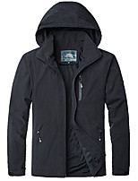 cheap -Men's Hiking Softshell Jacket Hiking Windbreaker Autumn / Fall Spring Summer Outdoor Solid Color Windproof Quick Dry Lightweight Breathable Jacket Hoodie Top Cotton Hunting Fishing Climbing Black