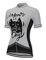 cheap -21Grams Women's Short Sleeve Cycling Jersey Spandex White Cat Bike Top Mountain Bike MTB Road Bike Cycling Breathable Sports Clothing Apparel / Stretchy / Athleisure