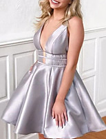 cheap -A-Line Minimalist Sexy Homecoming Cocktail Party Dress V Neck Sleeveless Knee Length Charmeuse with Sleek 2021