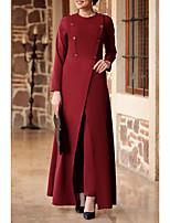 cheap -Women's A Line Dress Maxi long Dress Blue Red Fuchsia Navy Blue Long Sleeve Solid Color Patchwork Summer Round Neck Casual 2021 M L XL XXL 3XL 4XL