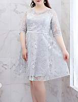 cheap -A-Line Flirty Plus Size Homecoming Cocktail Party Dress V Neck Half Sleeve Short / Mini Lace with Lace Insert Embroidery 2021