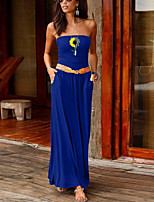 cheap -Women's Sheath Dress Maxi long Dress Black Purple Red Wine Army Green Dusty Rose Green Royal Blue Dark Gray Navy Blue Sleeveless Floral Summer Strapless Formal 2021 S M L XL XXL