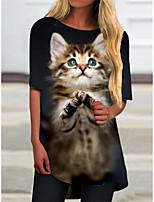 cheap -Women's T Shirt Dress Tee Dress Short Mini Dress Black Half Sleeve Cat Animal Print Spring Summer Round Neck Casual 2021 S M L XL XXL 3XL