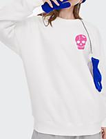 cheap -Women's Pullover Sweatshirt Skull Print Daily Other Prints Basic Hoodies Sweatshirts  White Blue Blushing Pink