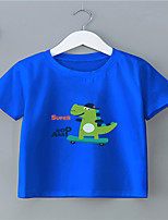 cheap -Kids Boys' T shirt Short Sleeve Black White Blue Graphic Letter Daily Wear Print Children Children's Day Summer Tops Active Regular Fit White Black Blue 2-9 Years