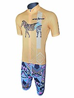 cheap -Men's Short Sleeve Cycling Padded Shorts Cycling Jersey with Bib Shorts Cycling Jersey with Shorts Titanium Bike Shorts Sports Clothing Apparel