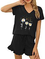cheap -Women Basic Streetwear Floral Vacation Casual / Daily Two Piece Set Tracksuit T shirt Loungewear Shorts Drawstring Ruffle Print Tops