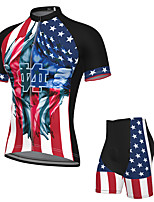 cheap -Men's Short Sleeve Cycling Jersey with Shorts Spandex Red+Blue National Flag Bike Breathable Quick Dry Sports Graphic Mountain Bike MTB Road Bike Cycling Clothing Apparel / Stretchy / Athletic