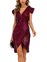 cheap -Women's A Line Dress Knee Length Dress Wine Short Sleeve Solid Color Color Block Summer V Neck Casual 2021 S M L XL