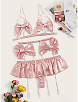cheap -Women's Layered Bow Hole Matching Bralettes Suits Nightwear Solid Colored Bra Blushing Pink XS S M