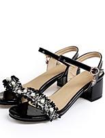 cheap -Women's Sandals Chunky Heel Round Toe PU Synthetics Pearl White Black
