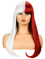 cheap -Synthetic Wig Natural Straight Neat Bang Wig Medium Length Red / White Synthetic Hair Women's Cosplay Party Fashion Silver Burgundy