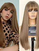 cheap -Synthetic Wig Natural Straight Neat Bang Wig 22 inch Light Brown Dark Brown Synthetic Hair Women's Fashionable Design Cosplay Party Dark Brown Light Brown