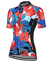 cheap -21Grams Women's Short Sleeve Cycling Jersey Spandex Red Floral Botanical Bike Top Mountain Bike MTB Road Bike Cycling Breathable Sports Clothing Apparel / Stretchy / Athleisure