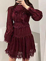 cheap -A-Line Flirty Vintage Holiday Cocktail Party Dress Stand Collar Long Sleeve Short / Mini Lace with Pleats Lace Insert 2021