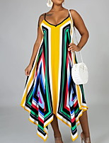cheap -Women's Strap Dress Maxi long Dress Yellow Sleeveless Print Print Summer V Neck Elegant 2021 S M L XL