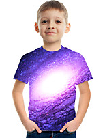 cheap -Kids Boys' Tee Short Sleeve Graphic Children Tops Active Purple 3-12 Years