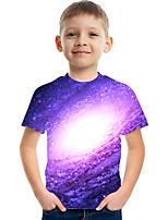 cheap -Kids Boys' Tee Short Sleeve Graphic Children Tops Active Purple 3-12 Years
