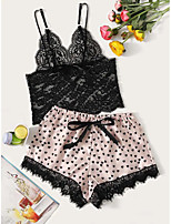 cheap -Women's Layered Lace Bow Matching Bralettes Suits Nightwear Solid Colored Bra Blushing Pink XS S M / Hole