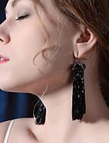 cheap -Women's Hoop Earrings Tassel Fringe Vertical / Gold bar Vintage Classic Imitation Diamond Earrings Jewelry Black For Wedding Party Stage 1 Pair