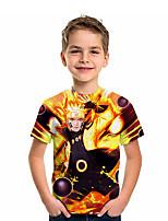 cheap -Kids Boys' T shirt Short Sleeve Anime Graphic Daily Wear Print Children Summer Tops Active Regular Fit Yellow 4-12 Years