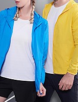 cheap -Women's Men's Hiking Softshell Jacket Hiking Skin Jacket Hiking Windbreaker Summer Outdoor Solid Color UV Sun Protection Ultraviolet Resistant Quick Dry Lightweight Jacket Hoodie Top Full Length
