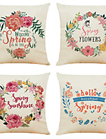 cheap -4 pcs Linen Pillow Cover, Holiday Simple Classic Square Traditional Classic