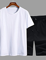 cheap -Men's Hiking Tee shirt with Shorts Short Sleeve Crew Neck Clothing Suit Outdoor Quick Dry Lightweight Breathable Soft Autumn / Fall Spring Summer Cotton Solid Color White Black Blue Fishing Climbing