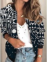 cheap -Women's Geometric Print Active Spring &  Fall Jacket Regular Daily Long Sleeve Air Layer Fabric Coat Tops Black