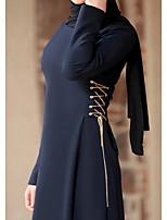 cheap -Women's A Line Dress Maxi long Dress Wine Navy Blue Long Sleeve Solid Color Patchwork Summer Round Neck Casual 2021 M L XL XXL 3XL 4XL