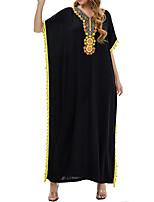 cheap -Women's Kaftan Dress Maxi long Dress Black Yellow Half Sleeve Floral Embroidered Tassel Fringe Print Summer V Neck Elegant Cotton 2021 M L XL XXL