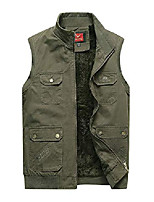cheap -Men's Fishing Vest Hiking Fleece Vest Autumn / Fall Winter Outdoor Quick Dry Lightweight Breathable Sweat wicking Jacket Top Climbing Camping / Hiking / Caving Black khaki Army Green / Sleeveless
