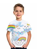 cheap -Kids Boys' T shirt Tee Short Sleeve Graphic 3D Animal Print Children Tops Active Light Blue
