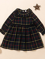 cheap -Kids Little Girls' Dress Plaid Print Black Long Sleeve Active Dresses Summer Regular Fit 2-6 Years