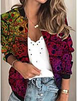 cheap -Women's Print Print Active Spring &  Fall Jacket Regular Daily Long Sleeve Air Layer Fabric Coat Tops Fuchsia