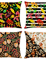 cheap -4 pcs Linen Pillow Cover, Floral&Plants Simple Classic Square Zipper Traditional Classic