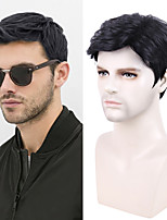 cheap -Curly Short Black Wig Male Short Hair Men's Wig Black Synthetic Wigs Men's Wig