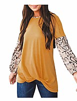 cheap -womens tops long sleeve tunic hessimy womens loose crew neck long sleeve leopard print blouse top t-shirts yellow