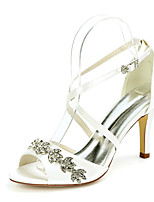 cheap -Women's Wedding Shoes Stiletto Heel Open Toe Wedding Sandals Satin Rhinestone Solid Colored White Black Purple