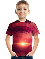 cheap -Kids Boys' Tee Short Sleeve Graphic Children Tops Active Red 3-12 Years