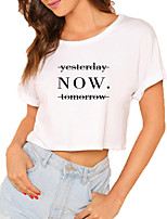 cheap -Women's Crop Tshirt Text Print Round Neck Tops 100% Cotton Basic Basic Top White Black