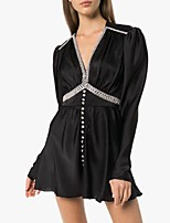 cheap -A-Line Little Black Dress Sexy Homecoming Party Wear Dress V Neck Long Sleeve Short / Mini Satin with Buttons Crystals 2021